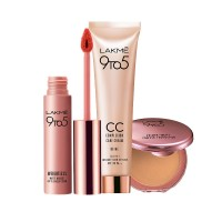 Lakme 9 to 5 Primer + Matte Powder Foundation Compact - Natural Light + Complexion Care CC Cream - Beige + Free Weightless Matte Mousse Lip & Cheek Color Full Size Tester