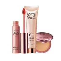 Lakme 9 to 5 Primer + Matte Powder Foundation Compact - Silky Golden + Complexion Care CC Cream - Bronze + Free Weightless Matte Mousse Lip & Cheek Color Full Size Tester
