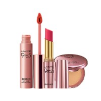 Lakme 9 to 5 Primer + Matte Powder Foundation Compact - Silky Golden + Primer + Matte Lip Color - MP16 Pink Perfect + Free Weightless Matte Mousse Lip & Cheek Color Full Size Tester
