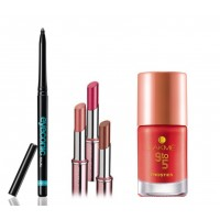 Lakme Eyeconic + 9 to 5 Lipstick Red Chaos + 9 to 5 Nail (Red Boss)