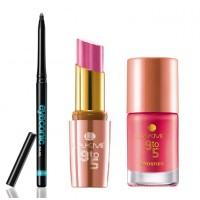 Lakme Eyeconic + 9 to 5 Lipstick Pink Power + 9 to 5  Nail (Candy Power)