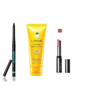 Lakme Sun Expert Fairness + UV Lotion SPF 30 PA + Lakme Eyeconic Kajal - Black +  Lakme Absolute Creme Lipcolor - Eternal Wine