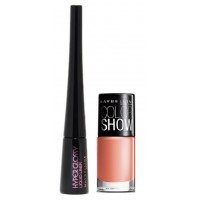 Maybelline Hyper Glossy Liquid Eyeliner - Black + Free Color Show Nail Lacquer - Nude Skin