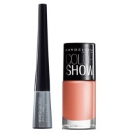Maybelline Hyper Glossy Electrics Eyeliner - Silver Trance + Free Color Show Nail Lacquer - Nude Skin