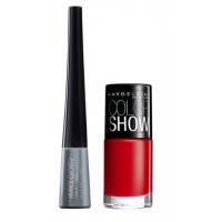 Maybelline Hyper Glossy Electrics Eyeliner - Silver Trance + Free Color Show Nail Lacquer - Downtown Red