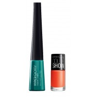 Maybelline Hyper Glossy Electrics Eyeliner - Lazer Green + Free Color Show Nail Lacquer - Orange Fix