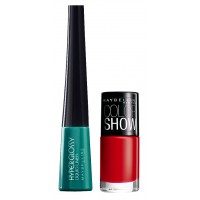 Maybelline Hyper Glossy Electrics Eyeliner - Lazer Green + Free Color Show Nail Lacquer - Downtown Red