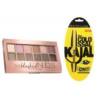Maybelline New York The Blushed Nudes Palette + Free Colossal Kajal
