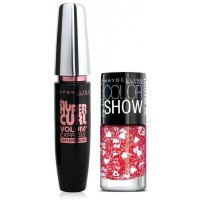 Maybelline Volum Express Hyper Curl Mascara - Waterproof + Free Graffiti Nail Polish - Pop Goes My Heart