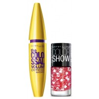 Maybelline The Colossal Volum Express Mascara - Washable + Free Graffiti Nail Polish - Pop Goes My Heart