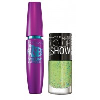 Maybelline Volum Express Falsies Mascara - Washable + Free Graffiti Nail Polish - Green Graffiti