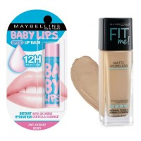 Maybelline New York Fit Me Matte + Poreless Foundation - 230 Natural Buff + Free Baby Lips Color Lip Balm