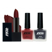 Nykaa My Dark Knight Lips And Nails Combo