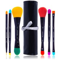 Shany Luna 6 Piece Double Sided Travel Brush Set With Pouch - Synthetic Hair