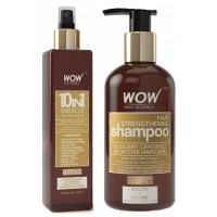 WOW 10 in 1 Miracle Hair Revitalizer + Organics Hair Strengthening Shampoo Free Paraben Sulphate