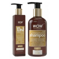 WOW 10 in 1 Miracle Hair Oil + Organics Hair Strengthening Shampoo Free Paraben Sulphate