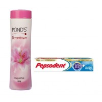 Ponds Dreamflower Talc + Free Pepsodent 27gm