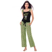 "PrettySecrets Cotton ""Eat your heart out"" Top & Pajama Set - Black, Green, Multicolour/Print"