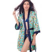 PrettySecrets Satin Kimono Wrap - Blue, Multi Colour / Print, Floral
