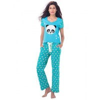 "PrettySecrets Cotton ""Cuddle me Panda"" Top & Pajama Set - Blue, Multi Colour / Print, Animal"