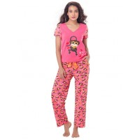 "PrettySecrets Cotton ""Mischief Monkey"" Top & Pajama Set - Pink, Multi Colour / Print, Animal"