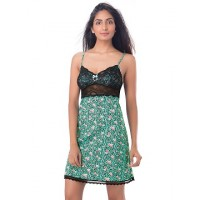 PrettySecrets Cotton & Lace Strappy Nightdress - Green, Multicoloured/Print, Floral, Animal