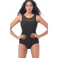 PrettySecrets Mesh Cut Out Swimsuit - Black