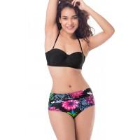 PrettySecrets Bandeau High Waist Bottom Bikini - Black, Multi Colour / Print, Floral
