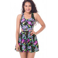 PrettySecrets Back Cut Out Skirted Swimsuit - Black, Multi Colour / Print, Floral
