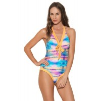 Zivame Aqua Abstract Beach Print Swimsuit With Removable Cups (Small)