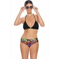 Zivame Aqua Halter Bikini With Floral Print Low Rise Bottom (Large)