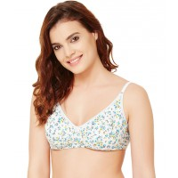 Rosaline All Day Comfort Floral Print Wirefree Bra - Blue