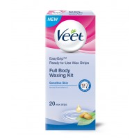Veet Ready To Use Wax Strips Full Body Waxing Kit - Sensitive Skin