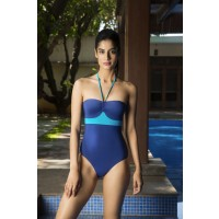 Aria + Leya Sun Kissed Skin Block Print One Piece - Blue