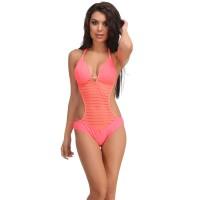 Clovia Orange Polyamide Monokini Swimsuit With Jacquard Stripes - Orange