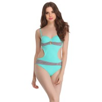 Clovia Soft Polyamide Monokini Swimsuit In Light Green