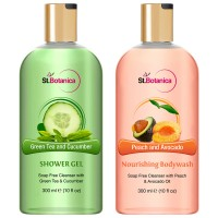 St.Botanica Green Tea And Cucumber Shower Gel + Peach And Avocado Nourishing Luxury Body Wash