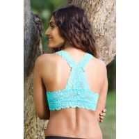 Zivame All That Lace Double Layered Pretty Back Bralette- Turquoise