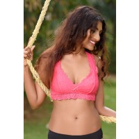 Zivame All That Lace Double Layered Pretty Back Bralette- Coral