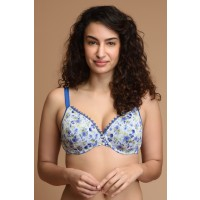 Zivame Classic Blue Floral Scalloped Lace Neck Padded Wired Bra (A-E)