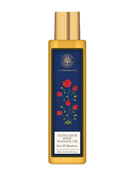 Forest Essentials Extra Rich Almond Body Massage Oil - Rose & Mandarin