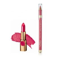 L'Oreal Paris Color Riche Moist Matte Lipstick - Raspberry Syrup + Lip Linner Couture - Pink Fever