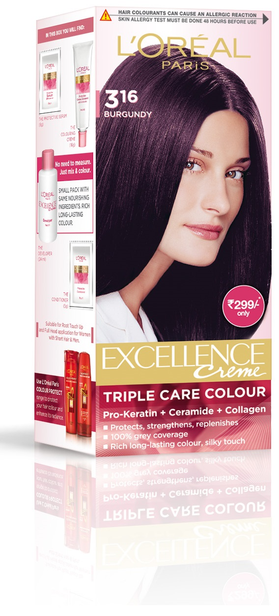 L'Oreal Paris Excellence Creme Hair Color - Burgundy  available at Nykaa for Rs.299