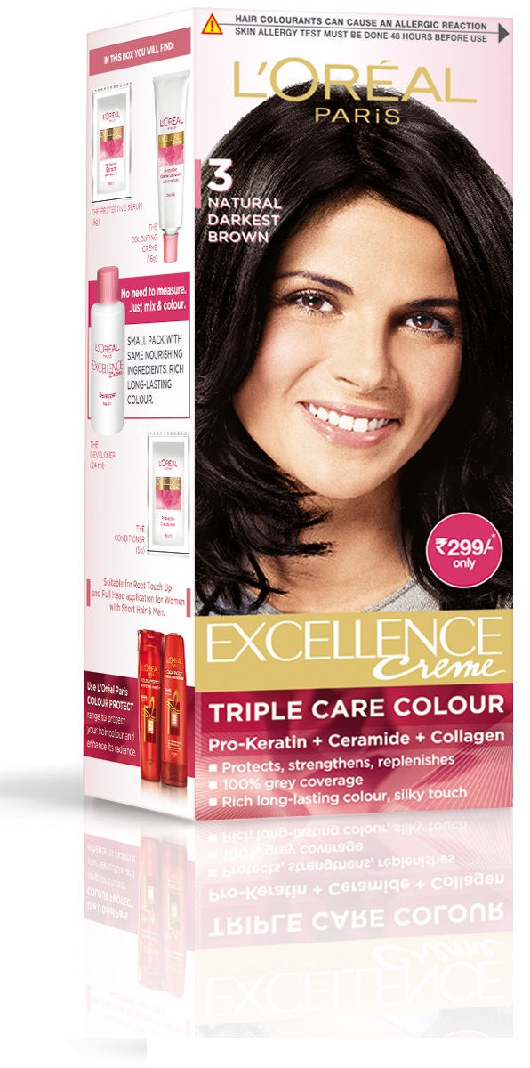 L'Oreal Paris Excellence Creme Hair Color - 3 Natural Darkest Brown  available at Nykaa for Rs.299