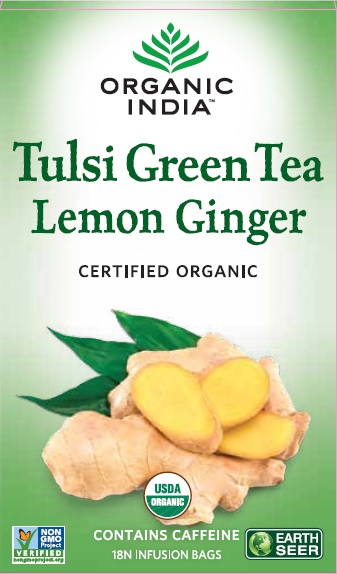 Organic India Tulsi Lemon Ginger Green Tea (Stress Reliveing & Exhilarating)
