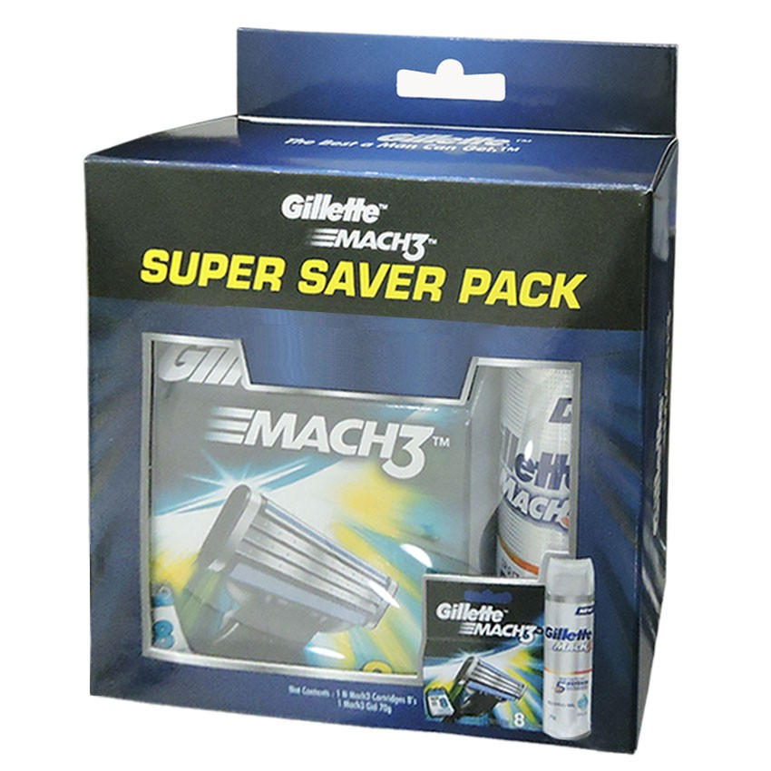 Gillette Mach 3 Manual Shaving Razor Blades (Cartridge) 8s pack + Gel Free  available at Nykaa for Rs.790