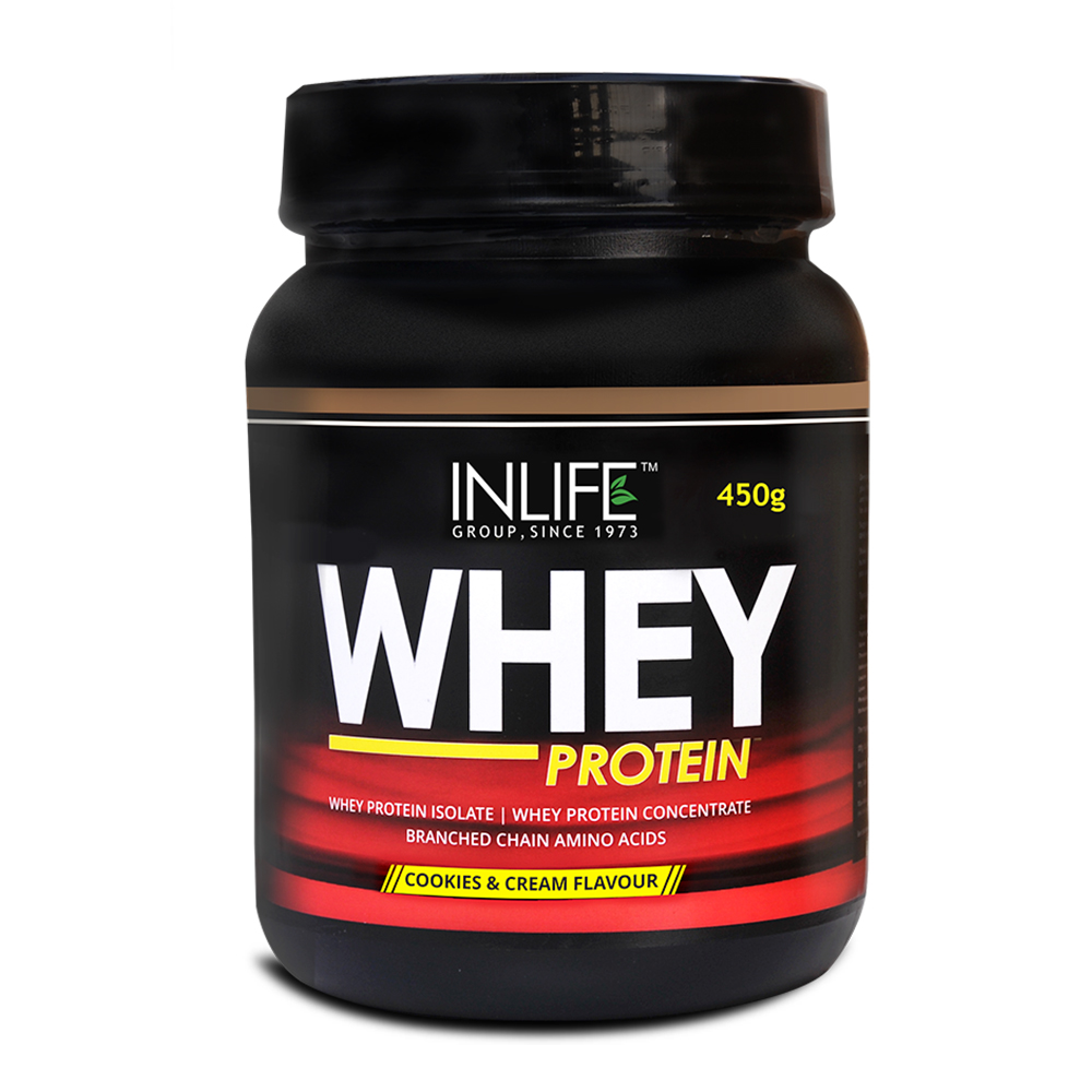 INLIFE Whey Protein Powder 1 lbs(Cookie and Cream Flavour) Body Building Supplement  available at Nykaa for Rs.1134