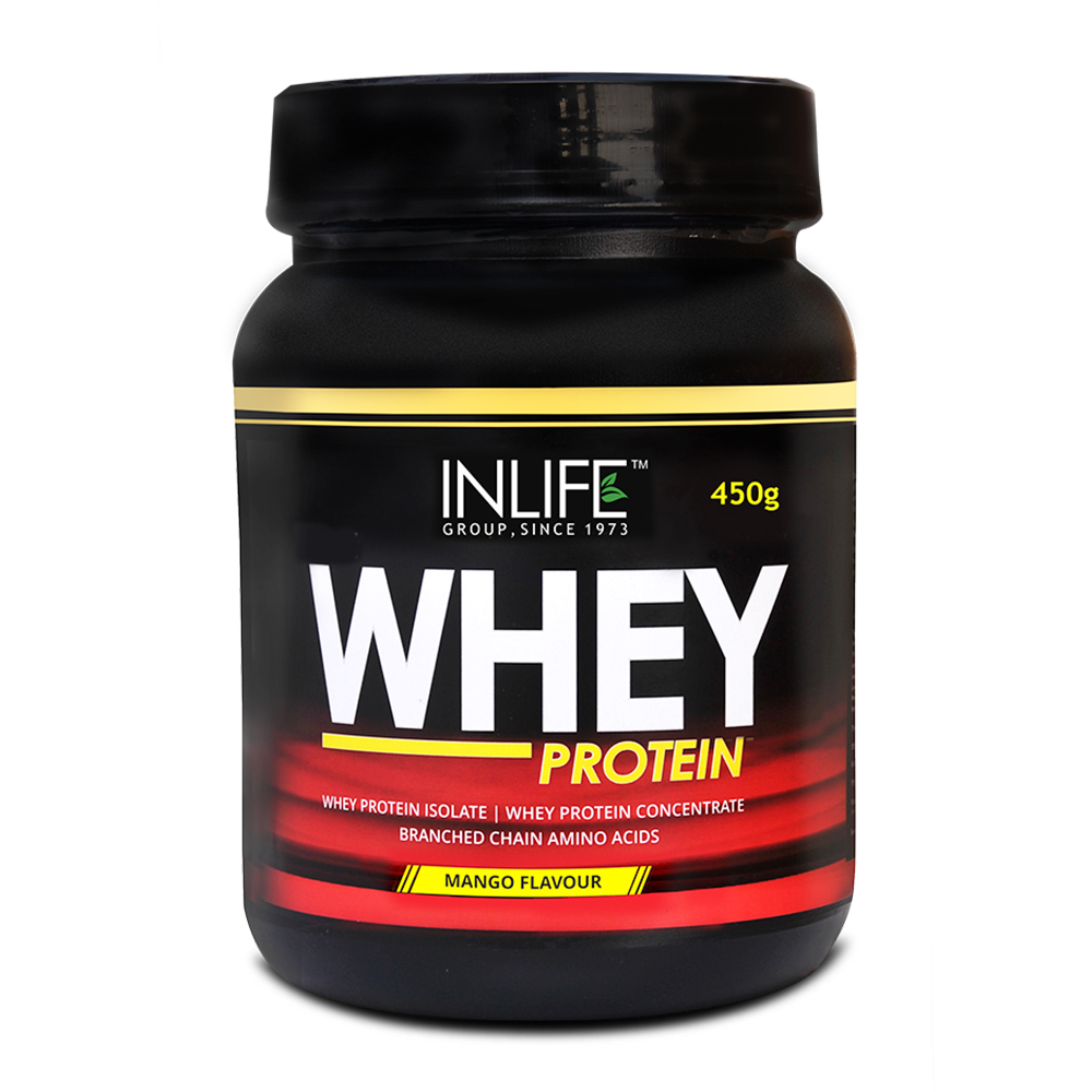 INLIFE Whey Protein Powder 1 lbs(Mango Flavour) Body Building Supplement  available at Nykaa for Rs.1134