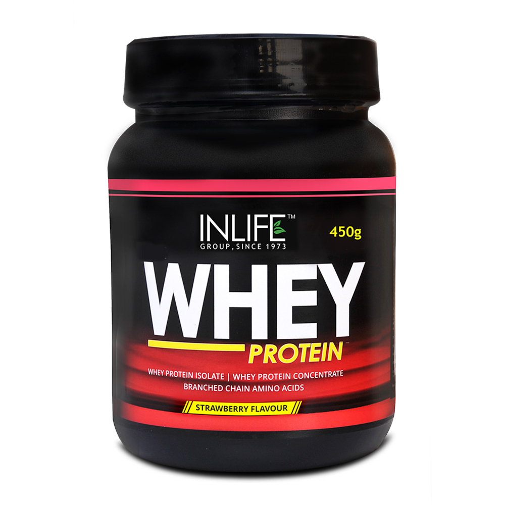 INLIFE Whey Protein Powder 1 lbs(Strawberry Flavour) Body Building Supplement  available at Nykaa for Rs.1134