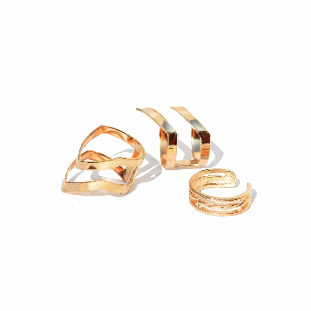 Joker & Witch Gold Edgy Trio Midi rings ( set of 3)